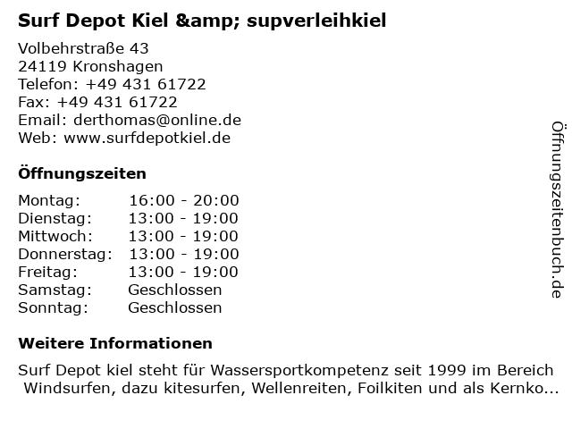 ᐅ öffnungszeiten Surf Depot Kiel Supverleihkiel Volbehrstraße