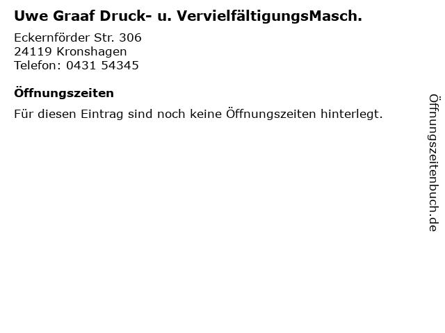 Uwe Graaf Druck- u. VervielfältigungsMasch. in Kronshagen: Adresse und Öffnungszeiten