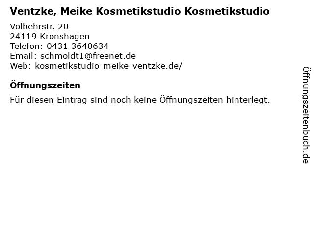Ventzke, Meike Kosmetikstudio Kosmetikstudio in Kronshagen: Adresse und Öffnungszeiten