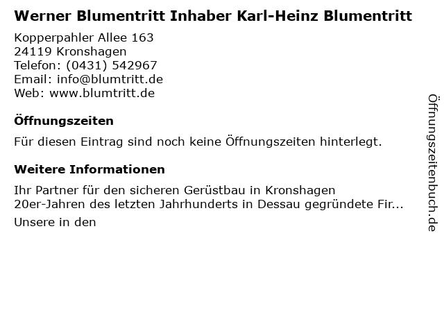 Werner Blumentritt Inhaber Karl-Heinz Blumentritt in Kronshagen: Adresse und Öffnungszeiten