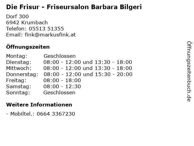 Die Frisur - Friseursalon Barbara Bilgeri in Krumbach: Adresse und Öffnungszeiten