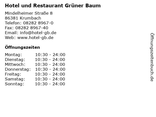 Hotel und Restaurant Grüner Baum in Krumbach: Adresse und Öffnungszeiten