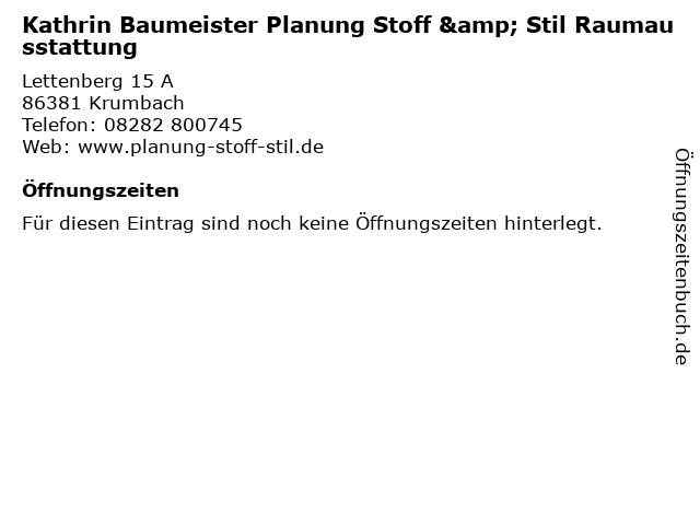 ᐅ Offnungszeiten Kathrin Baumeister Planung Stoff Stil