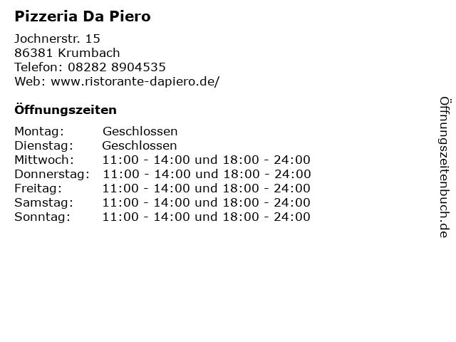 Pizzeria Da Piero in Krumbach: Adresse und Öffnungszeiten