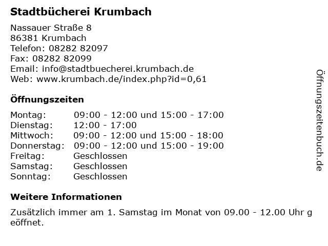 Stadtbücherei Krumbach in Krumbach: Adresse und Öffnungszeiten