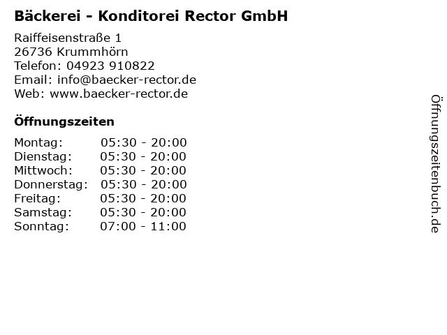 Bäckerei - Konditorei Rector GmbH in Krummhörn: Adresse und Öffnungszeiten