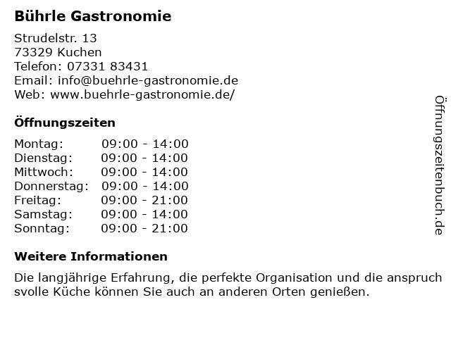 Bührle Gastronomie in Kuchen: Adresse und Öffnungszeiten