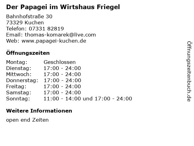 ᐅ Offnungszeiten Der Papagei Im Wirtshaus Friegel Bahnhofstrasse