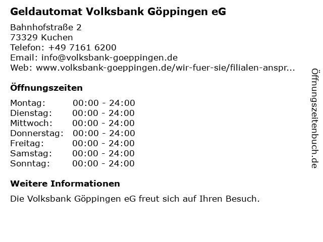 ᐅ Offnungszeiten Geldautomat Volksbank Goppingen Eg