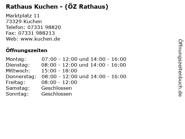 ᐅ Offnungszeiten Rathaus Kuchen Oz Rathaus Marktplatz 11 In
