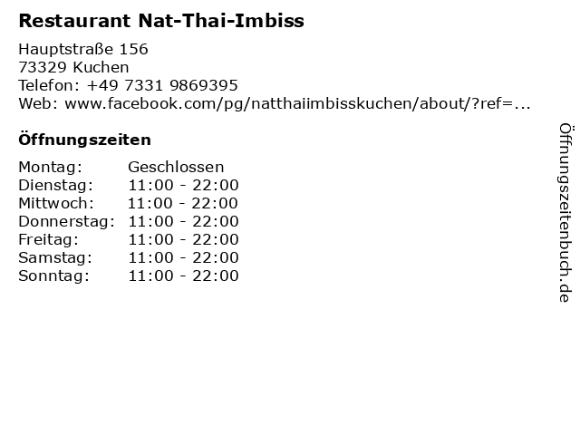 Restaurant Nat-Thai-Imbiss in Kuchen: Adresse und Öffnungszeiten