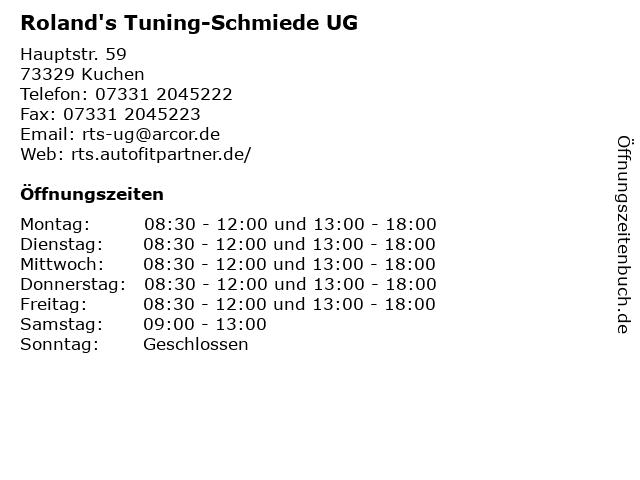 Roland's Tuning-Schmiede UG in Kuchen: Adresse und Öffnungszeiten