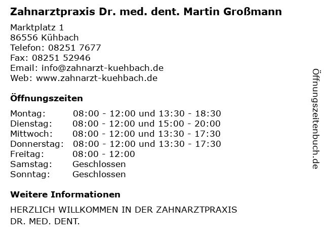 Zahnärzte Dr, Wagner und Dr. Grossmann in Kühbach: Adresse und Öffnungszeiten