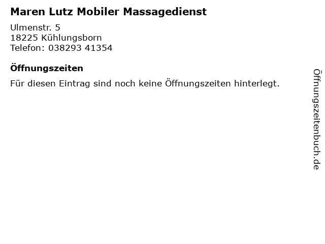 Maren Lutz Mobiler Massagedienst in Kühlungsborn: Adresse und Öffnungszeiten