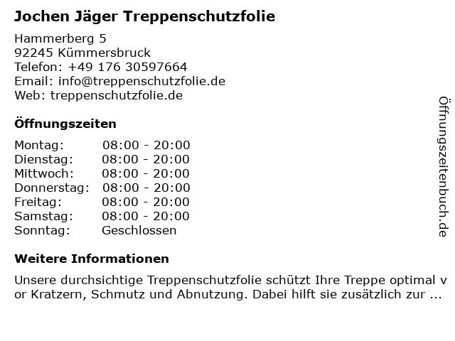 Jochen Jäger Treppenschutzfolie in Kümmersbruck: Adresse und Öffnungszeiten