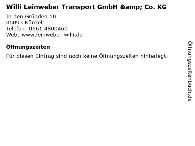 Willi Leinweber Transport GmbH & Co. KG in Künzell: Adresse und Öffnungszeiten