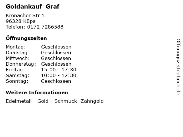 Goldankauf  Graf in Küps: Adresse und Öffnungszeiten