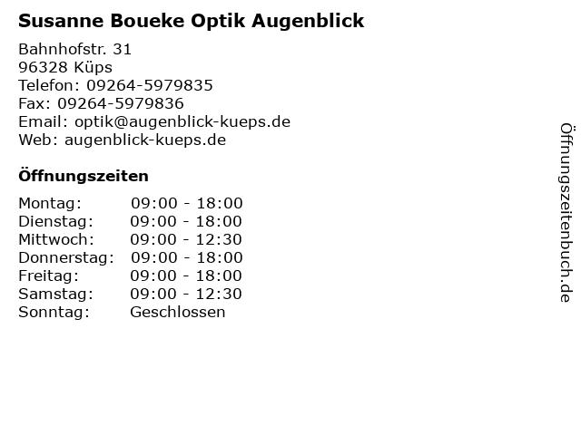 Susanne Boueke Optik Augenblick in Küps: Adresse und Öffnungszeiten