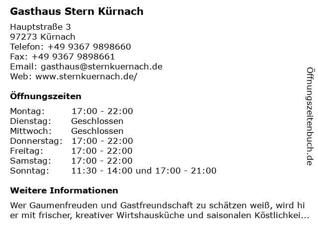 Gasthaus Stern Kürnach in Kürnach: Adresse und Öffnungszeiten