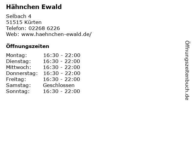 Hähnchen Ewald in Kürten: Adresse und Öffnungszeiten