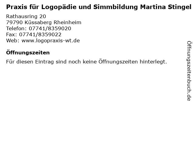 Praxis für Logopädie und Simmbildung Martina Stingel in Küssaberg Rheinheim: Adresse und Öffnungszeiten