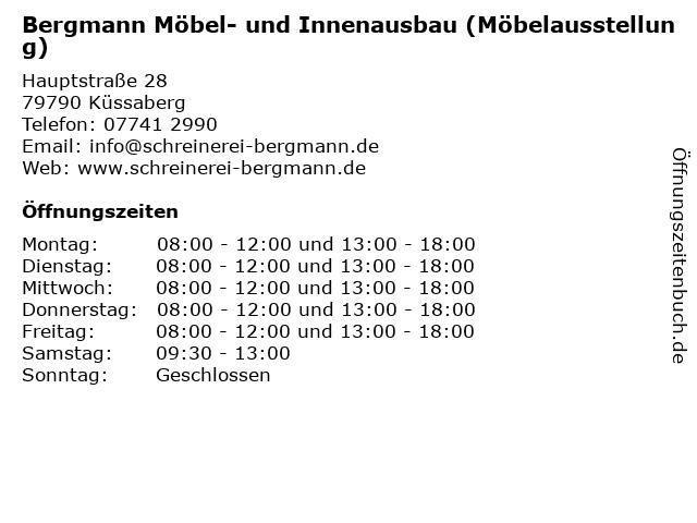 Bergmann Möbel- und Innenausbau (Möbelausstellung) in Küssaberg: Adresse und Öffnungszeiten