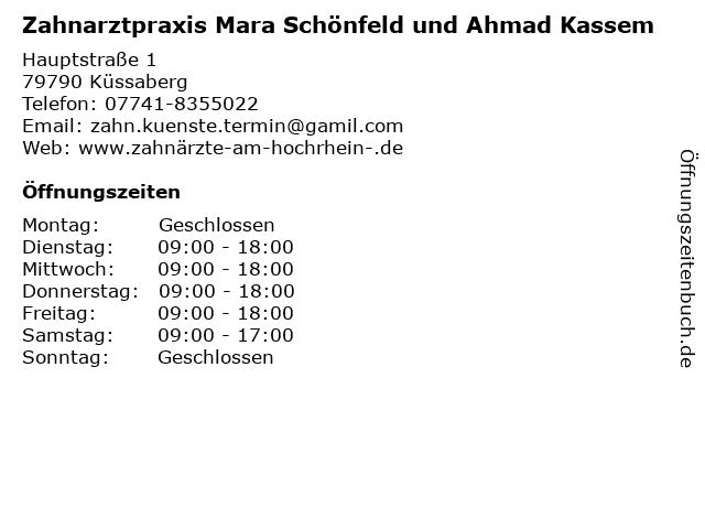 Zahnarztpraxis Mara Schönfeld und Ahmad Kassem in Küssaberg: Adresse und Öffnungszeiten