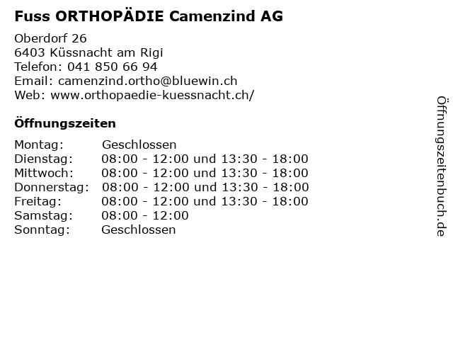 Fuss ORTHOPÄDIE Camenzind AG in Küssnacht am Rigi: Adresse und Öffnungszeiten