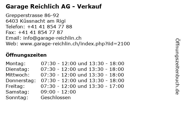Garage Reichlich AG - Verkauf in Küssnacht am Rigi: Adresse und Öffnungszeiten
