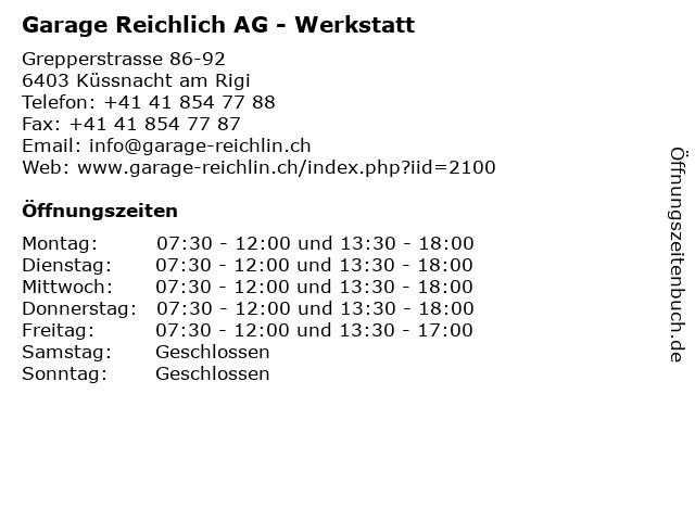 Garage Reichlich AG - Werkstatt in Küssnacht am Rigi: Adresse und Öffnungszeiten