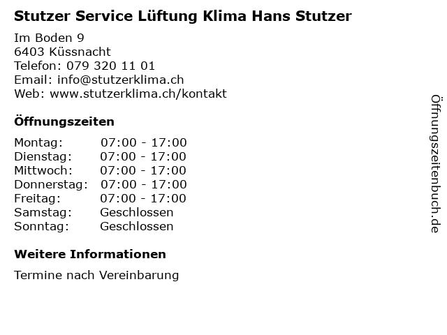 Stutzer Service Lüftung Klima Hans Stutzer in Küssnacht: Adresse und Öffnungszeiten