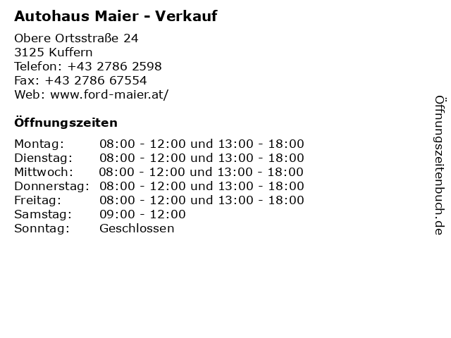 Autohaus Maier - Verkauf in Kuffern: Adresse und Öffnungszeiten