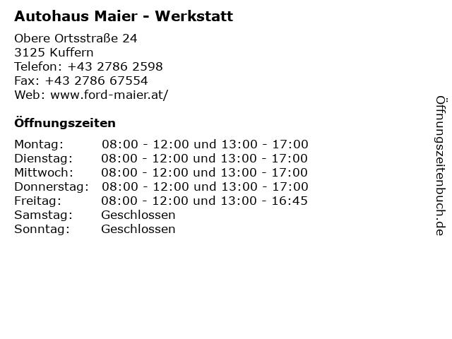 Autohaus Maier - Werkstatt in Kuffern: Adresse und Öffnungszeiten