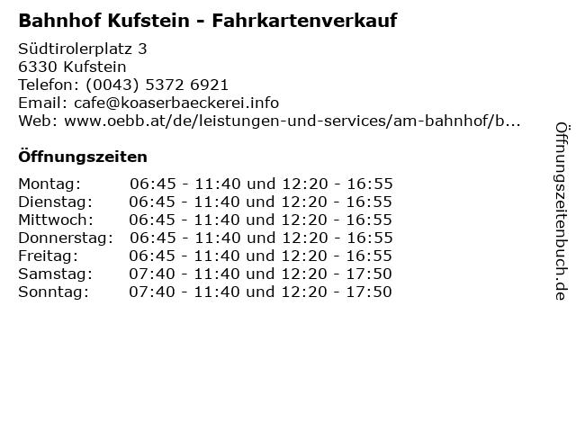 Bahnhof Kufstein - Fahrkartenverkauf in Kufstein: Adresse und Öffnungszeiten