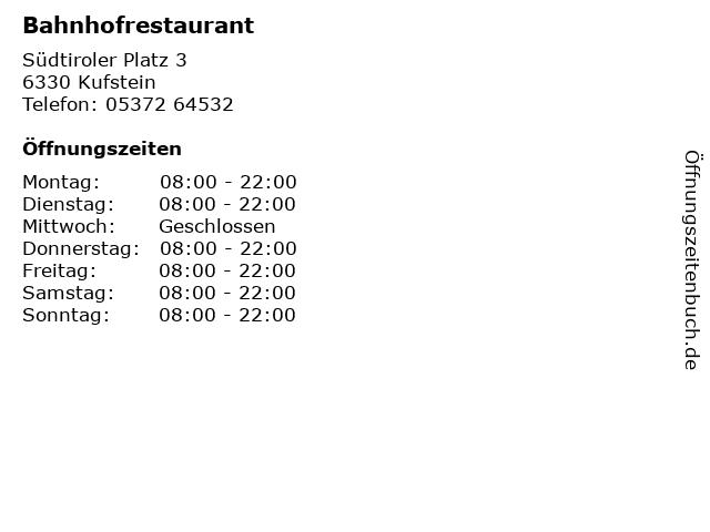 Bahnhofrestaurant in Kufstein: Adresse und Öffnungszeiten