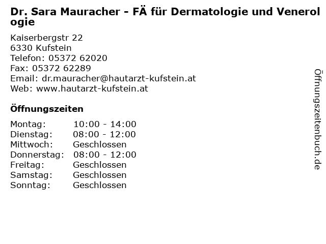 Dr. Sara Mauracher - FÄ für Dermatologie und Venerologie in Kufstein: Adresse und Öffnungszeiten