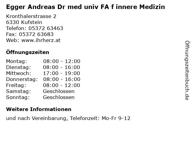 Egger Andreas Dr med univ FA f innere Medizin in Kufstein: Adresse und Öffnungszeiten