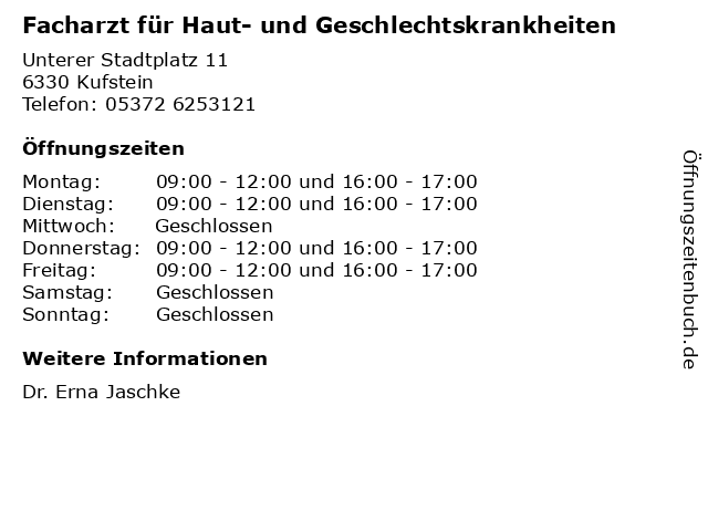 Facharzt für Haut- und Geschlechtskrankheiten in Kufstein: Adresse und Öffnungszeiten