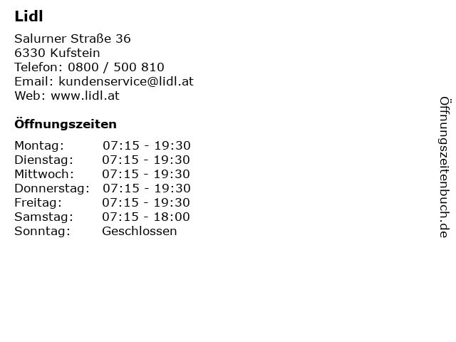 Lidl in Kufstein: Adresse und Öffnungszeiten