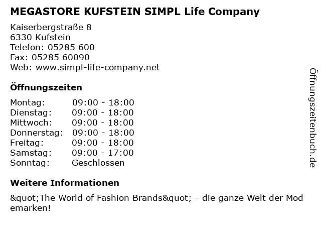 MEGASTORE KUFSTEIN SIMPL Life Company in Kufstein: Adresse und Öffnungszeiten