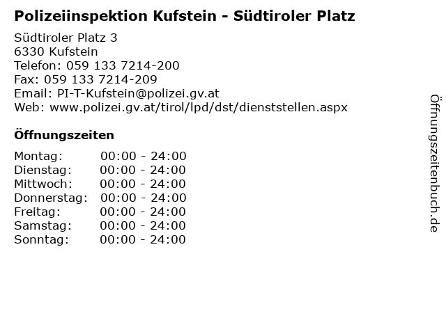Polizeiinspektion Kufstein - Südtiroler Platz in Kufstein: Adresse und Öffnungszeiten