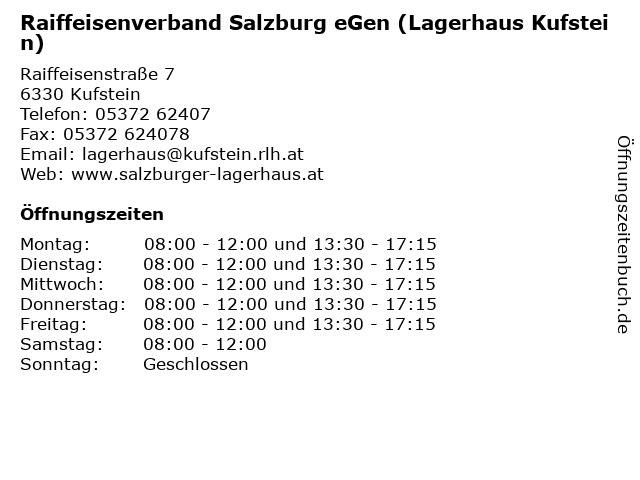 Raiffeisenverband Salzburg eGen (Lagerhaus Kufstein) in Kufstein: Adresse und Öffnungszeiten