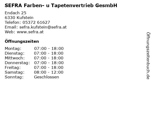 SEFRA Farben- u Tapetenvertrieb GesmbH in Kufstein: Adresse und Öffnungszeiten