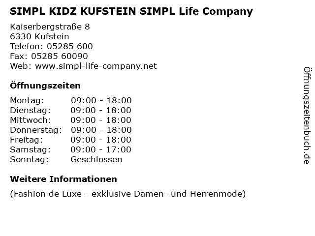 SIMPL KIDZ KUFSTEIN SIMPL Life Company in Kufstein: Adresse und Öffnungszeiten