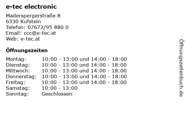e-tec electronic in Kufstein: Adresse und Öffnungszeiten