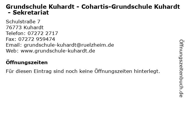 Grundschule Kuhardt - Cohartis-Grundschule Kuhardt - Sekretariat in Kuhardt: Adresse und Öffnungszeiten