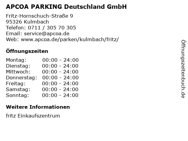 APCOA PARKING Deutschland GmbH in Kulmbach: Adresse und Öffnungszeiten