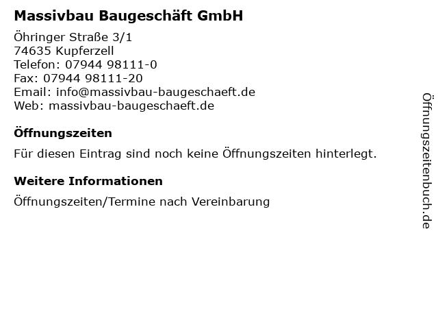Massivbau Baugeschäft GmbH in Kupferzell: Adresse und Öffnungszeiten