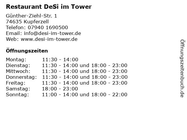Restaurant DeSi im Tower in Kupferzell: Adresse und Öffnungszeiten