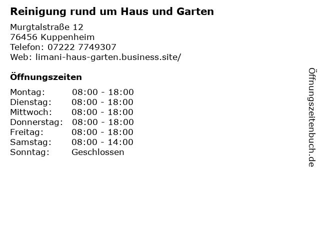 Reinigung rund um Haus und Garten in Kuppenheim: Adresse und Öffnungszeiten